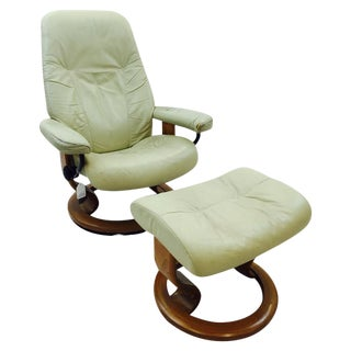 Vintage Ekornes Norway Stressless Chair & Ottoman