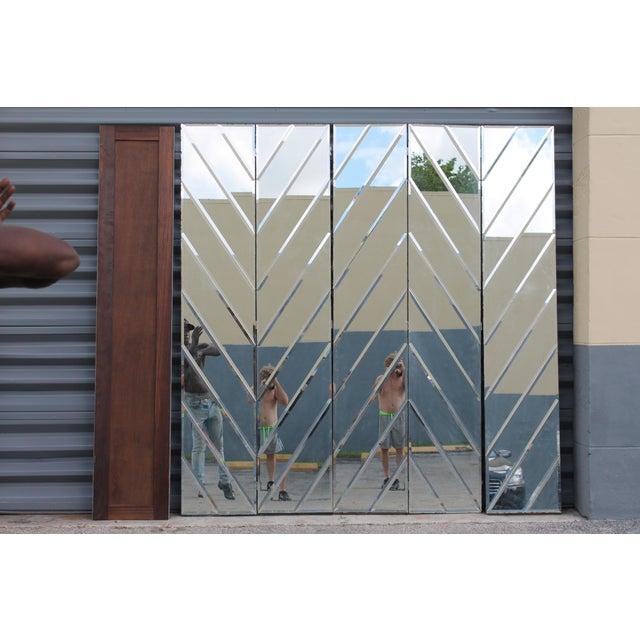 Mid-Century Modern Beveled Mirror Screen - Image 10 of 11