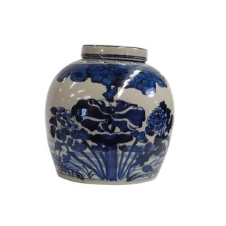 Chinese Handmade Medium Blue & White Porcelain Ginger Jar
