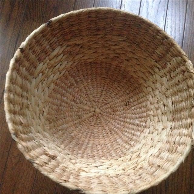 Vintage Natural Straw Pedestal Bowl - Image 6 of 11