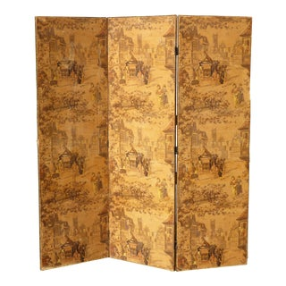 Vintage French Country Yellow 3 Panel Folding Screen