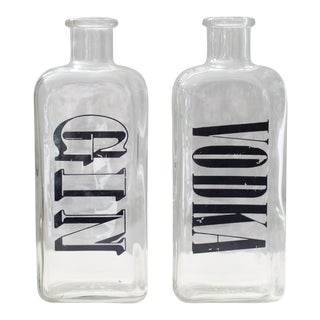 Vintage Gin & Vodka Liquor Bottles - A Pair