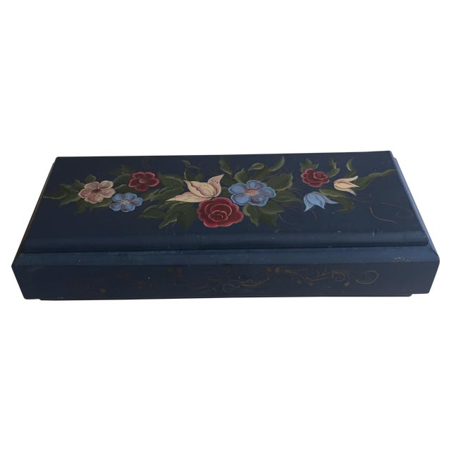 Hand Painted Blue Floral Box - Image 1 of 5