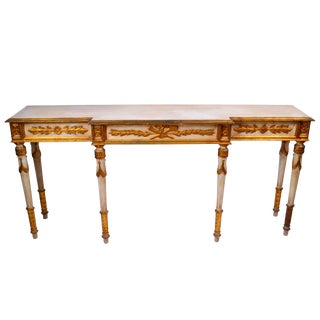 Hand-Carved Long Italian Console Table