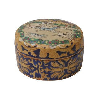 Chinese Oriental Porcelain Dominos Dog Container
