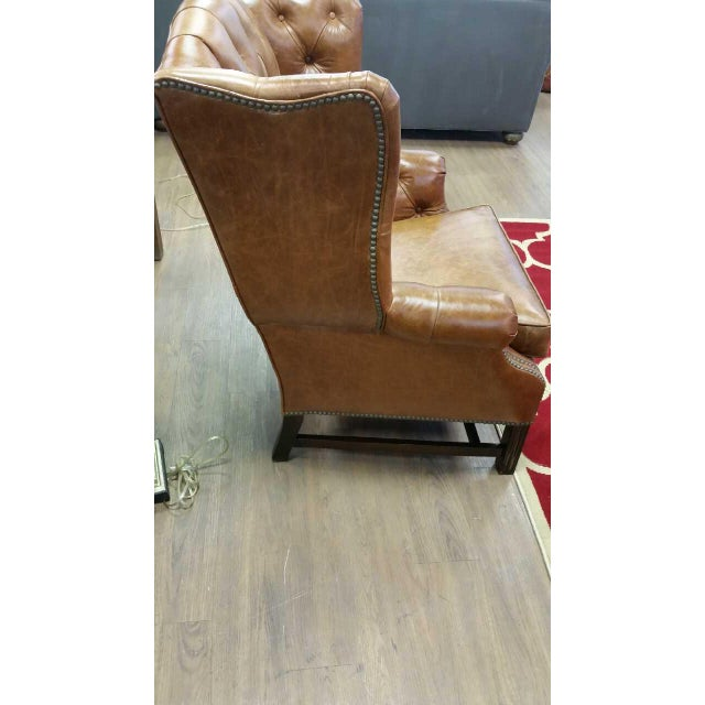 Refurbished Genuine Leather Wing Chair - Image 4 of 7