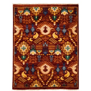 """New Suzani Hand Knotted Area Rug - 4'7"""" x 6'"""