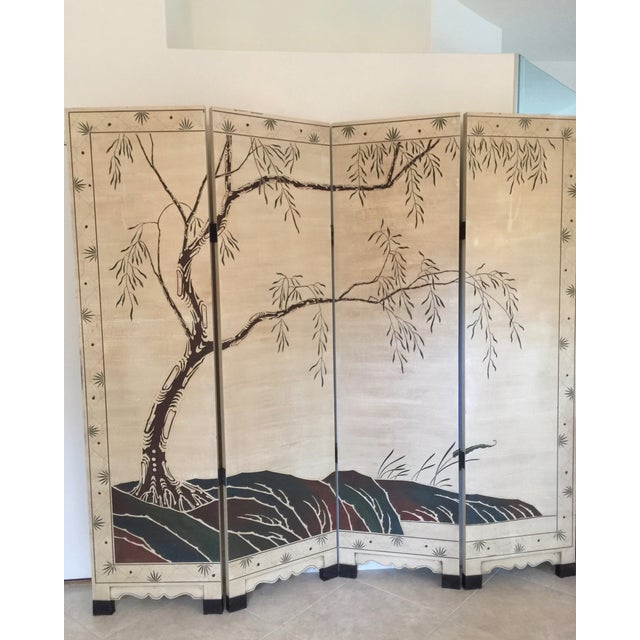 Hand-Painted Chinese Wood Screen - Image 2 of 11