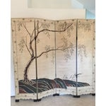 Image of Hand-Painted Chinese Wood Screen