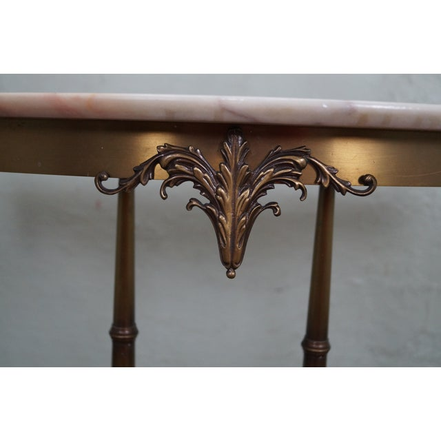 Italian Hollywood Regency Marble Top Console Table - Image 7 of 10