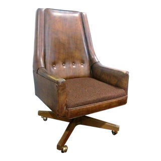 Mid Century Faux Leather Executive Lounge Chair
