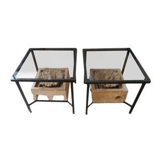 Floral Stone & Metal End Tables - A Pair