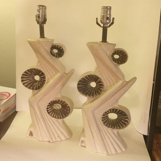 Image of Mid-Century Atomic Chalkware Ivory Lamps - A Pair