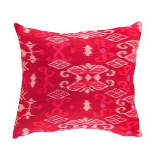 Bright Pink Ikat Throw Pillow