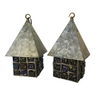 Artisan Made Rock Slag Glass Lanterns - A Pair