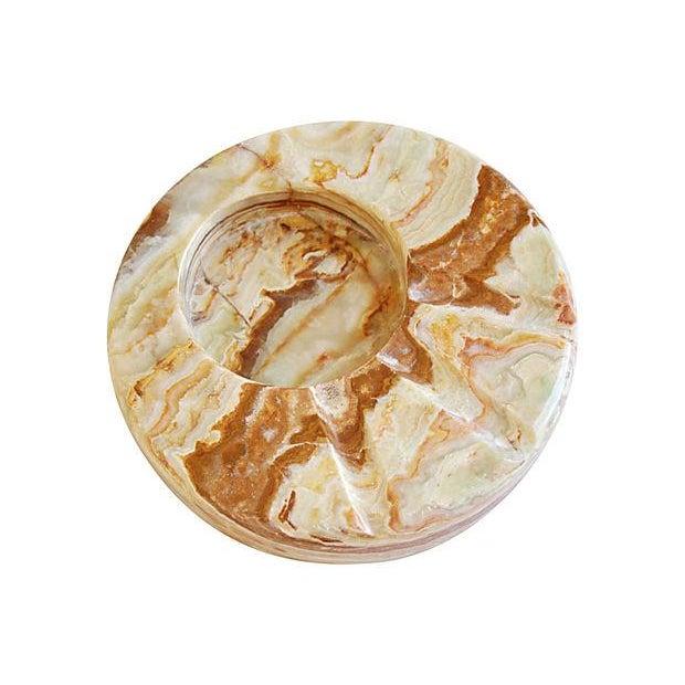 Image of Mid-Century Carved & Polished Onyx Slab Ashtray
