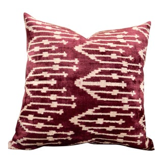 Plum Silk Velvet Ikat Throw Pillow