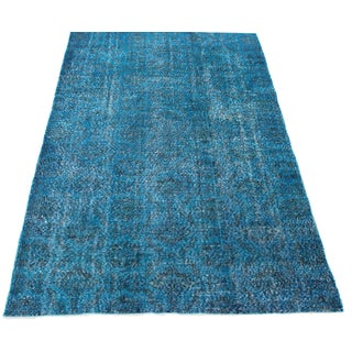 "5'4"" X 8'10"" Blue Turkish Over-Dyed Rug"