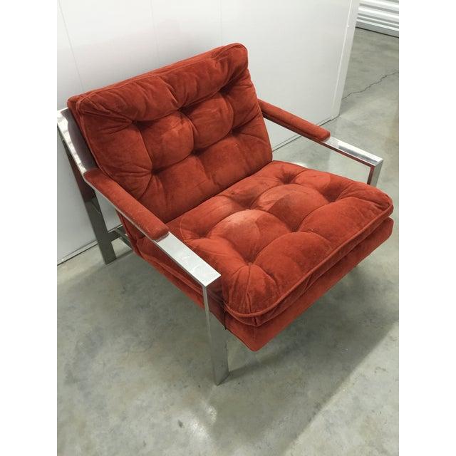 Milo Baughman Chrome and Velvet Lounge Chair - Image 2 of 7