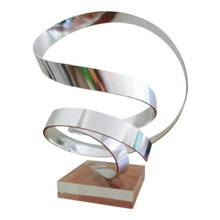Modernist Aluminum and Lucite Ribbon Sculpture by Dan Murphy 1989