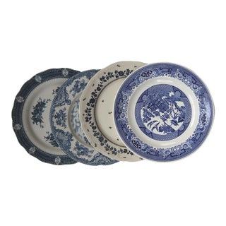 Mismatched Blue & White Transfer Ware Dinner Plates - Set of 4
