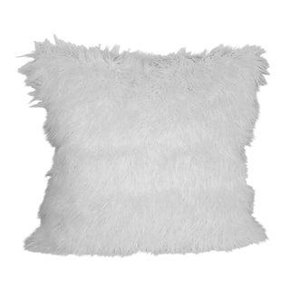 White Faux Fur & Indigo Pillow 24x24