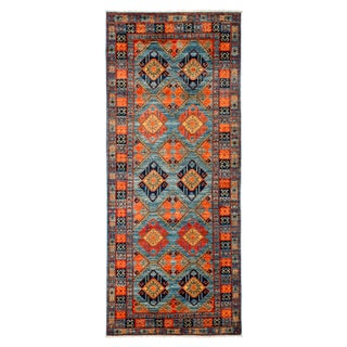 """New Blue Hand-Knotted Rug - 3'10"""" X 9'5"""""""