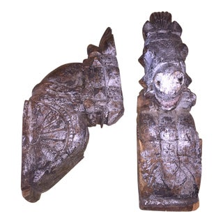 Remnant Rajput Horse Heads - a Pair