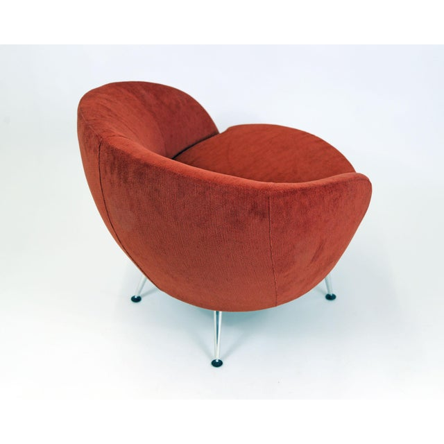 Image of Brazilian Modern Mannes Curved Back Red Club Chair