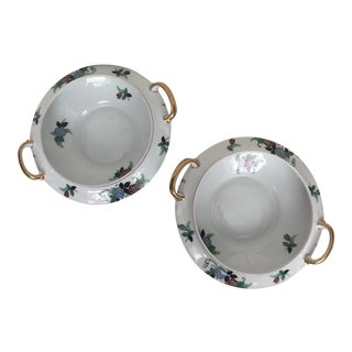 Limoges Porcelain & Gold Soup Tureens - A Pair