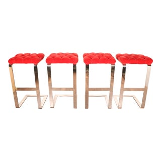1970s Chrome & Red Velvet Bar Stools- Set of 4