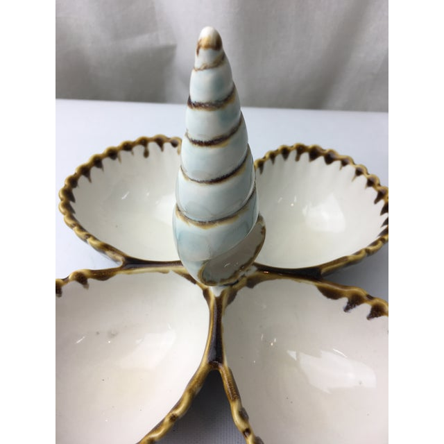 Transitional Majolica Seashell Style Nut Server - Image 3 of 5