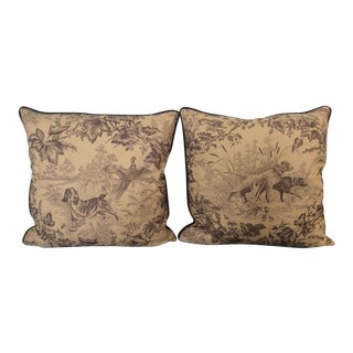 Brunschwig & Fils Hunting Toile in Tobacco & Cream Pillows - a Pair