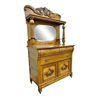 Antique Victorian Golden Quartered Oak Carved Mirror Sideboard