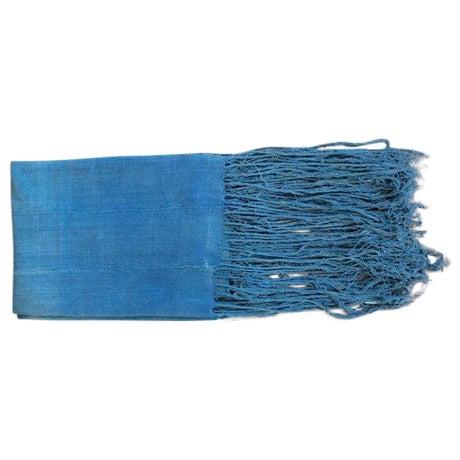 Image of Vintage African Indigo Fringe Throw Blanket
