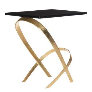 Dovie Gold Leaf Glass Top Side Table