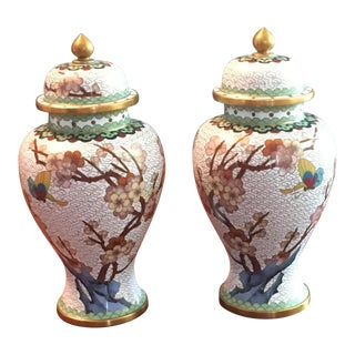 Pair of Chinese Cloisonne Enamel Ginger Jar Vases