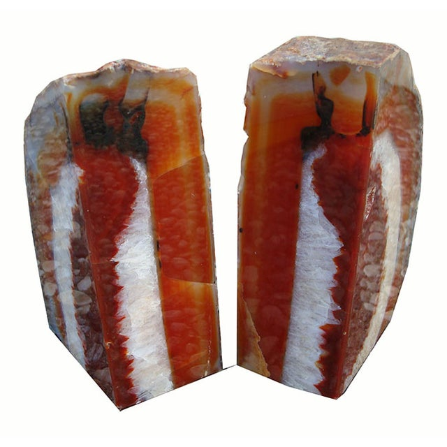 Image of Large Rich Burnt Umber Crystal Agate Bookends