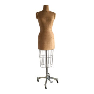 Dress Form Custom Covered in Ralph Lauren Raffia Wallpaper