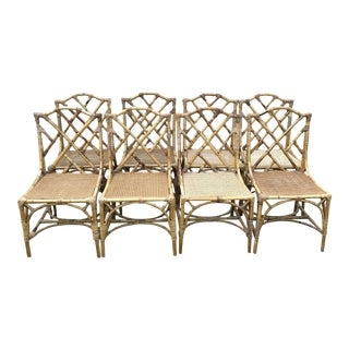 Chinese Chippendale Rattan Dining Chairs - Set of 8
