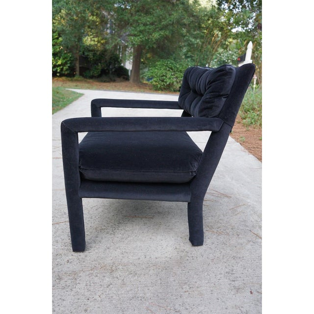 Image of Baughman Style Black Velvet Open Arm Chairs - A Pair