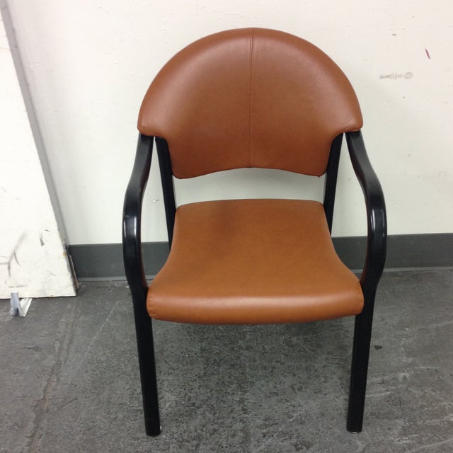 Image of Wooden Leather Arm Chair