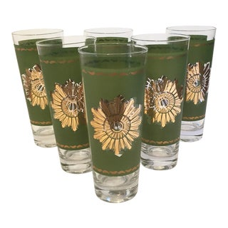 Federal Glass Green and Gold Sunburst Tumblers - Set of 6