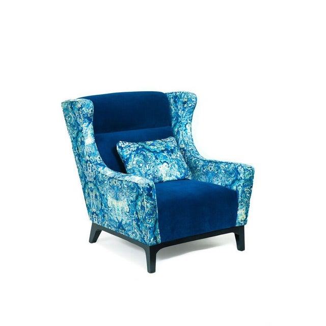 Charles Blue Mixed Media Armchair - Image 2 of 3