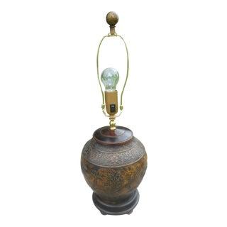 Bronze Birds & Floral Motif Mellon Table Lamp