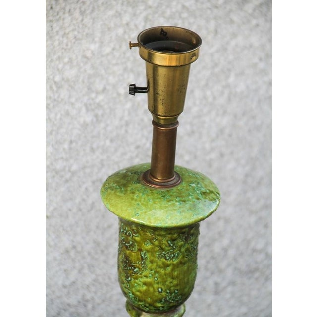 Vintage Green Ceramic Table Lamp - Image 5 of 6