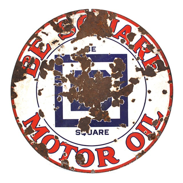Large Be Square Motor Oil Sign Vintage Industrial - Image 1 of 6