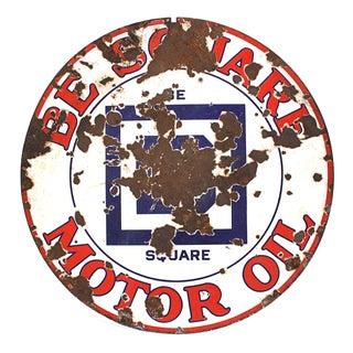 Large Be Square Motor Oil Sign Vintage Industrial