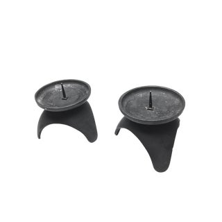 Mid-Century Black Cast Iron Candle Holders - A Pair