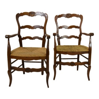French Country Rush Cane Seat Armchairs - a Pair